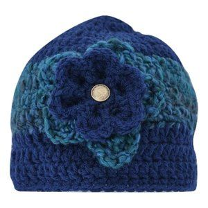 🆕Hand-Crocheted Navy Blue and Turquoise Beanie